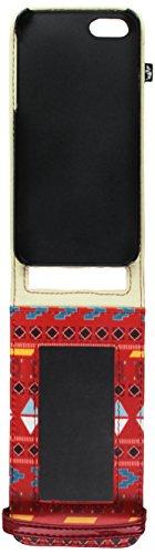 Proporta iPhone 5 Hülle Case Schutz Etui mit integriertem Spiegel aus Kunstleder - Shine Azteke - Rot