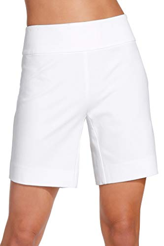 Boston Proper Women's Everyday Side Zip Stretch Twill High Rise Seven-Inch Short Pure White - Short Twill Zip