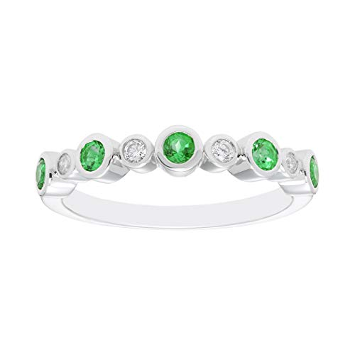 925 Sterling Silver Diamond-Accented Created Emerald Birthstone 9-Stone Bezel-Set Stacking Ring, Size 6 (Emerald 3mm Accented Ring Setting)