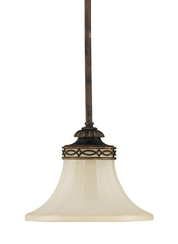 Murray Feiss P1114WAL Drawing Room Collection 1-Light Mini-Pendant, Walnut Finish with Amber Snow Scavo Glass Shade Fitters Inch Ceiling Fan