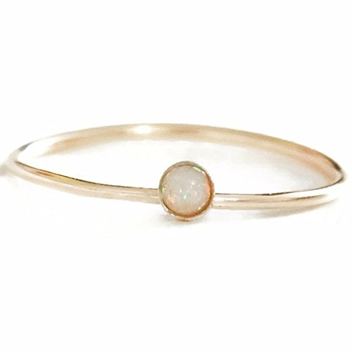 Gold/Rose Australian White Fire Opal Skinny 1MM Band October Birthstone Gemstone Ring Sizes 2 3 4 5 6 7 8 9 10 11 12 13 (Australian Gem)