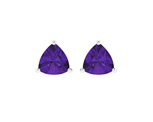 Euforia Jewels 14K White Gold Top Quality Natural Amethyst 4x4 Trillion Cut Stud Earrings With Silver Sillicon Post