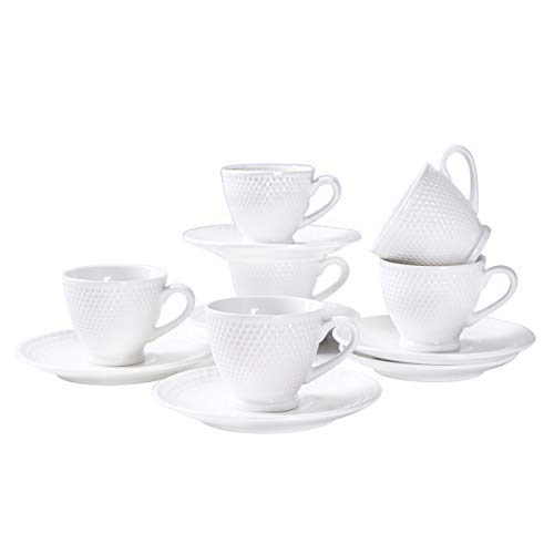 - YOLIFE White Ceramic Espresso Cups,Beautiful Golfball Pits Model Demitasse Cups- 3OZ cup - set of 6 with Gift Package