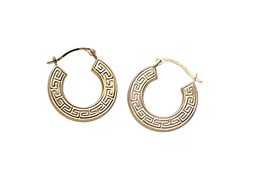 (10K Yellow Gold Textured Greek Key Pattern Round Hoop Earring with with Hinged Clasp)