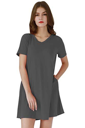 (YMING Women's Fashion Loose Dress V-Neck Tshirt Dress Comfy Tunic Dress Dark Grey L)