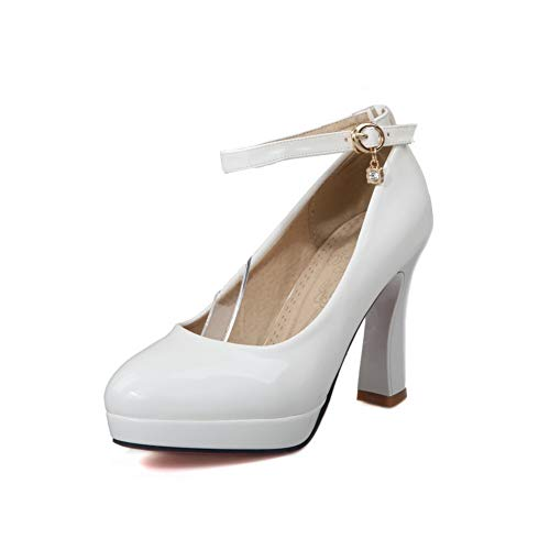 Platform Leather APL10450 Pumps Solid Travel Womens White Shoes BalaMasa wPqRx5In
