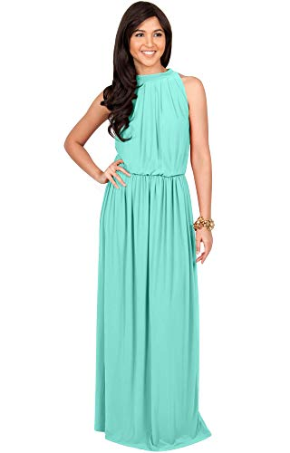 KOH KOH Plus Size Womens Long Sexy Sleeveless Bridesmaid Halter Neck Wedding Party Guest Summer Flowy Casual Brides Formal Evening A-line Gown Gowns Maxi Dress Dresses, Light Mint Green XL 14-16 (Maxi Size Plus Cruise Dress)