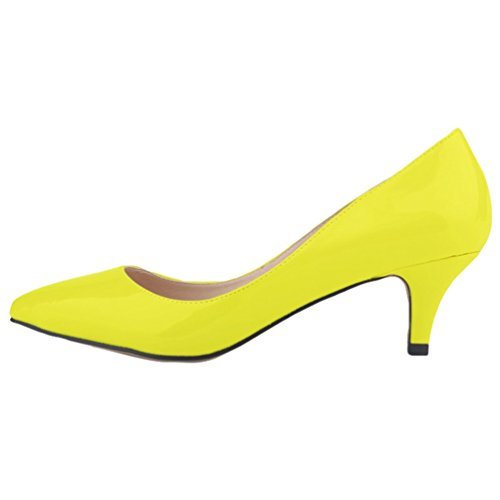 Low Elegant Ladies WanYang Chaussures Femmes Femme Chaussures Bureau Heel Shallow Fluorescent Jaune Mouth Pointue Work Talons EtqEwIp