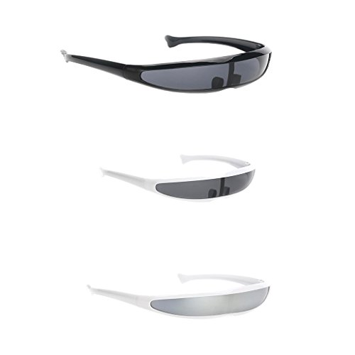Prettyia 3 Pieces Futuristic Cyclops Shield Sunglasses for Cosplay Mirrored Lens Visor Narrow Cyclops Novelty Party Eyewear