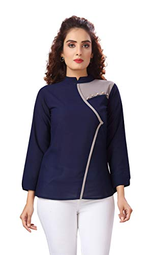 Madhuram Textiles Women's and Girl Top with 3/4 Sleeves for Office Wear, Casual Wear, and Regular Georgette Top