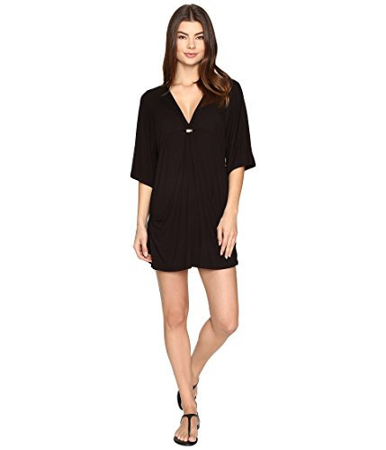 Trina Turk Women's Santiago Tunic Cover up with Pockets, Blk, L