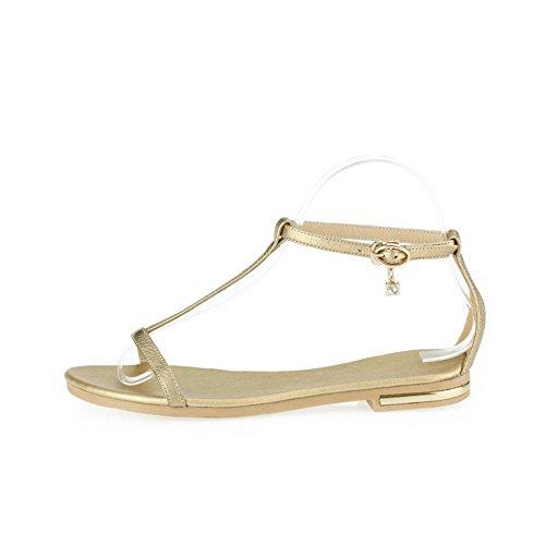 Amoonyfashion Kvinna Ingen Hälen Mjukt Material Fast Spänne Öppen Tå Flats-sandaler Guld