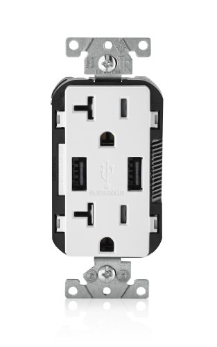 Leviton T5832-W USB Charger/Tamper-Resistant Duplex Receptacle, 20-Amp, White ()