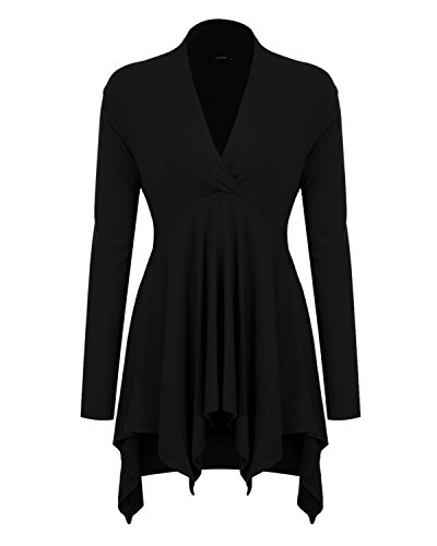Mixfeer Womens Cross V Neck Long Sleeve Empire Waist Asymmetric Hem Tunic (Empire Waist V-neck Tunic)