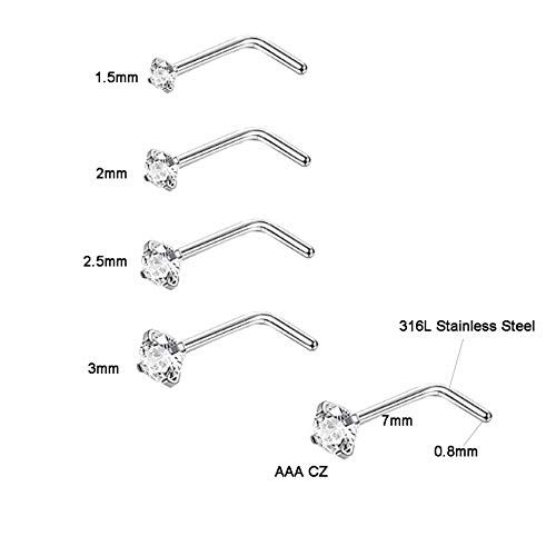 SOVSEFD 8 PCS 20 Gauge Stainless Steel Nose Rings Studs L Screw Shaped Screw Nose Fake Septum Rings Body Piercing Jewelry 1.5mm 2mm 2.5mm 3mm Diamond CZ Nose Stud L Bend for Women Men Girl Piercing (Sliver-Steel)