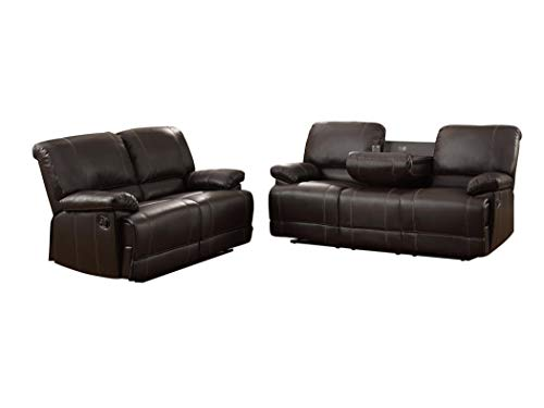 Price comparison product image Cadoret 2PC Set Double Reclining Drop-Down Cup Holder Sofa & Double Reclining Love Seat in Dark Brown Leather