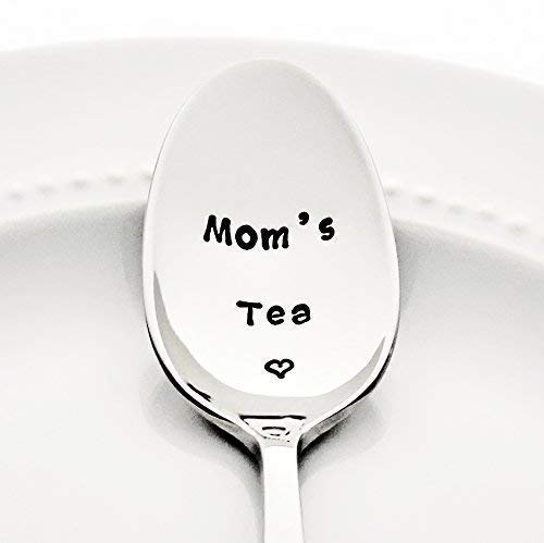 Moms Tea with a Heart - Mothers Day Gift for Mom | Stainless Steel Stamped Spoon Foodie Gifts for Her Option to Personalize with a Name