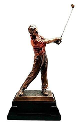 Ky & Co YesKela Professional Golfer Swinging Club Driving Range Bronze Electroplated Figurine.