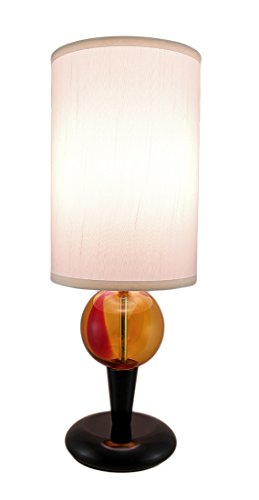 Lamps Amber Orb Black Lacquer Wood And Glass Table Lamp W/Fabric Shade 8 X 22 X 8 Inches Black (Amber Living Room)