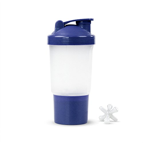Protein / Vitamin - Shaker Mixing Bottle w/dry Storage Compartment - 16oz. Capacity - Blue