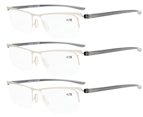 Eyekepper 3-Pack Plastic Temple Lightweight Half-rim Reading Glasses Men Women Silver +0.75 (Temples Plastic)