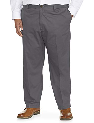 (Amazon Essentials Men's Big & Tall Loose-fit Wrinkle-Resistant Flat-Front Chino Pant fit by DXL, Gray, 54W x 30L)