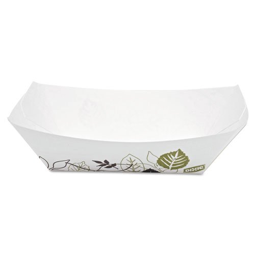 Dixie KL100PATH Kant Leek Paper Food Tray, 1-Compartment, White/Green/Burgundy, 6.25w x 4.69l x 3h, Pack of 250 (Case of 4 Packs) (Dixie Leek Kant)