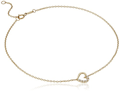14k Yellow Gold Cubic Zirconia Heart Charm Anklet, 10