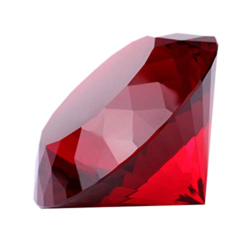 Red Crystal Glass Diamond Shaped Decoration, Big Ruby 80mm Jewel Paperweight