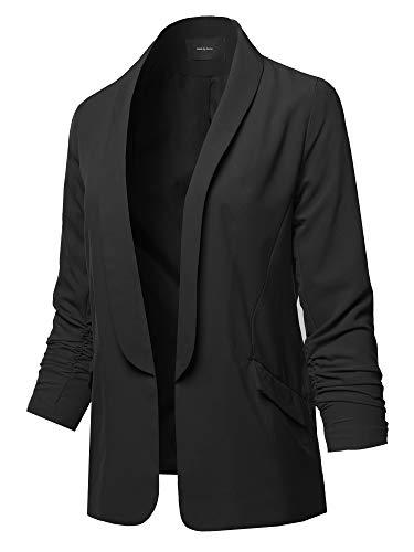 Basic Open Front Office Blazer Jacket Black M - Jacket Black Ladies