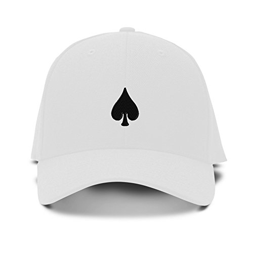 (Spade Poker Card Playing Embroidery Adjustable Structured Baseball Hat White)