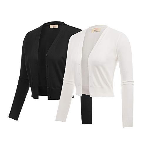2 Pack Open Front Cropped Bolero Shrug Cardigan Black & White Size L ZHXS0051-3 ()