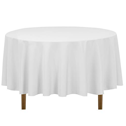 LinenTablecloth 90-Inch Round Polyester Tablecloth,  White -