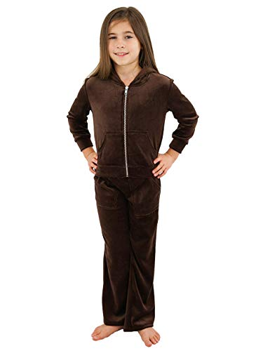 Jacket Hoodie Brown Velour - Velour Hoodie Set - Girls Jacket with Pant, Pockets, Silver Zipper (Brown, Small)