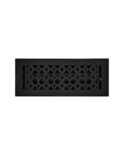 - Cast Aluminum Register 4x12 Black - Durable, Designer Air Vents with Metal Damper, Hand Crafted Designer Home Décor Hardware, Sand Casted, Powder Coated Matte Flat - Black