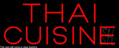 Red Thai Cuisine Clear Backing Neon Sign 13'' Tall x 32'' Wide by The Sign Store