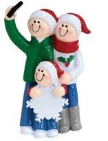 Selfie Family Christmas Ornament (Family of 3)