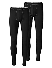 DAVID ARCHY Men's 2 Pack Ultra Soft Winter Warm Base Layer Quick Dry Pants Thermal Bottoms Long Johns with Fly