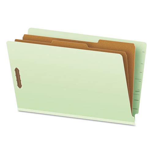 Pendaflex 23324 Pressboard End Tab Folders, Legal, 2 Dividers/6 Section, Pale Green, 10/Box