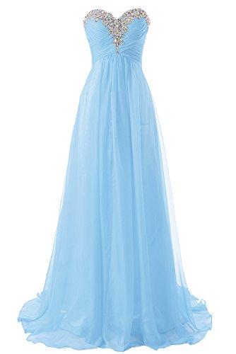Damen Brautjungfernkleid Abendkleid Chiffon Lang Trägerlos JAEDEN Himmelblau Ballkleid 4pBYxq