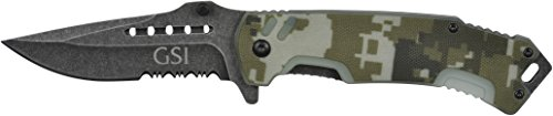 GSI Tactical. Camo Rogue Folding Knife. 4.5 Closed, 3.5 Blade. HRC 53-55 Steel. Hunting Knife. Survival Knife. Military Knife.