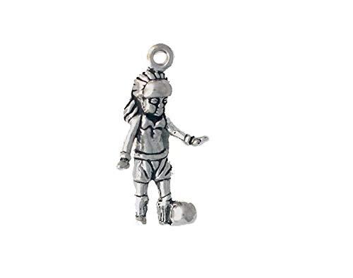 Sterling Silver Soccer Player Charm - Pendant Jewelry Making/Chain Pendant/Bracelet Pendant Sterling Silver Girl Soccer Player Charm