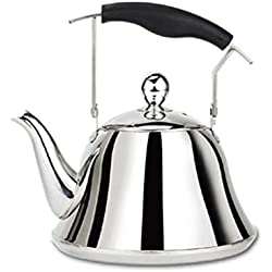 304 Stainless Steel Coffee pot - Whistle hot Teapot - With Polished and Sand Hole Filter Design - Home Large Capacity Kettle (4l/5l/6l/7l)