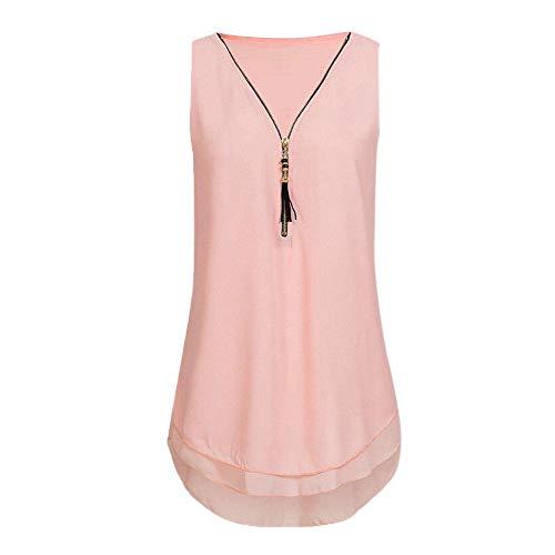 CCOOfhhc Tank Tops for Women Summer Loose Sleeveless Tank Top Cross Back Hem Layed Zipper V-Neck T Shirts ()