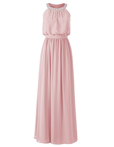 ALAGIRLS Womens Halter Neck Sleeveless Chiffon Bridesmaid Dress Prom Party Gowns Blush US12