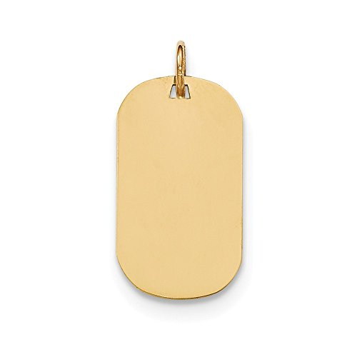 Solid 14k Yellow Gold Plain .009 Gauge Engraveable Dog Tag Disc Pendant Charm (13mm x 23mm) ()