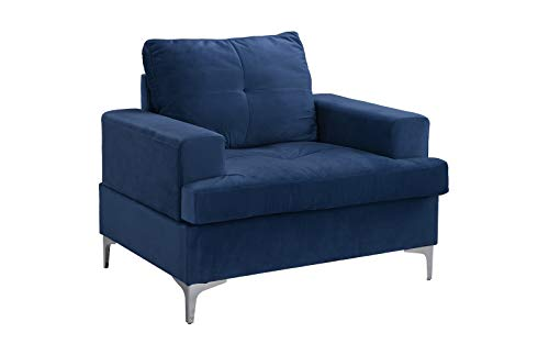 Mid Century Modern Velvet Armchair, Living Room Accent Chair (Navy) (Affordable Chairs Accent)
