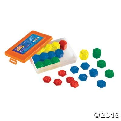 Fun Express Hexagram Metric Weight Set 54 Pieces - 54 Pieces - Educational and Learning Activities for Kids: Toys & Games