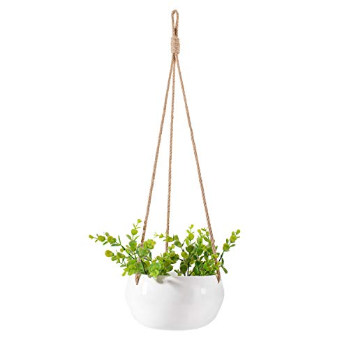 Soonow 8 inch Ceramic Hanging Planter with Drainage for Indoor Outdoor Plants, White (Ceramic Planter Hanging)