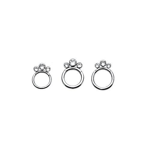 Ring Bezel Set Gem Bead - WildKlass Hinged Segment Rings with 3 Clear Bezel Set CZ Gems (14g 10mm)